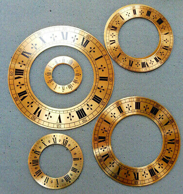 Brass Chapter Ring clock Faces/Dials - Round, Roman Numerals