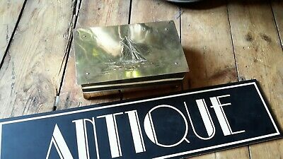 Antique Arts & Crafts brass yaught ship wood lined box WMF newlyn interest