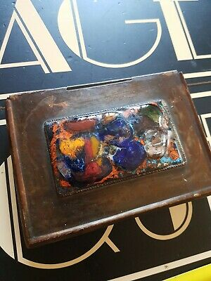 VINTAGE antique ARTS AND CRAFTS copper enamel wooden lined box