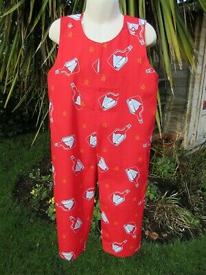 Adjustable Dungarees, Red, Ship in Bottle, 3-4 Years, New, Handmade