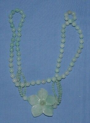 Vintage Chinese Jade Bead Necklace with large carved Jade Flower Pendant