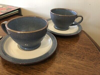 Pair Denby Storm 2 Large Breakfast cups & saucers Grey And Plum. Tea Coffee Set