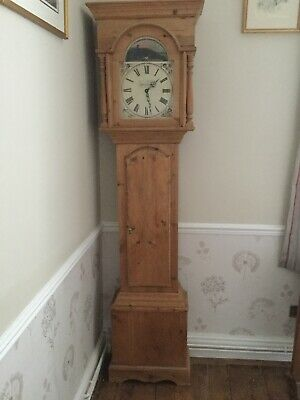 Antique Stripped Pine Longcase Grandfather Clock With Nice Country Scene On Face