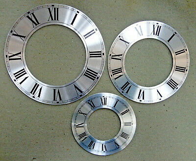 Silver Chapter Ring Clock Faces/Dials - Round, Roman Numerals