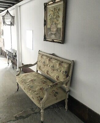 Late 19th century French canapé couch sofa in original upholstery fabric.