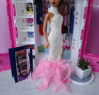 "ooak long dress with feathers sequins metalic hand-knitted  for 1/6th 12"" dolls"