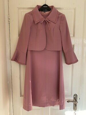 Vintage 60s 70s Mod Peggy French Pink 2 Piece Dress & Jacket Suit 8 10 Small