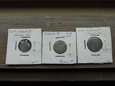 """1679 Great Britain """"Charles II"""" Maundy Set in XF/XF+ Condition"""