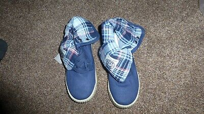 Bnwt Next Boys Navy Blue Tartan Boots Shoes Size 12 Uk / 30.5 Eur