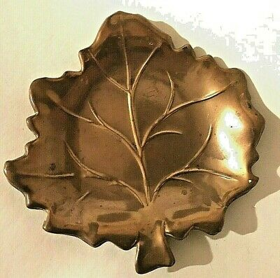 Copper Arts and Crafts inspired LEAF Dish early 20th. century.