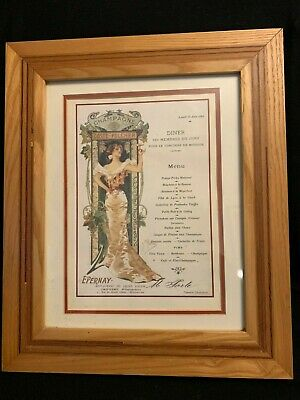 """Antique french picture of french menu16x13.5"""" inside 9.5x12"""" custom framed"""