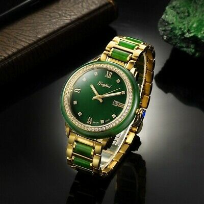 100% Real Chinese Hetian Jade luxury watch green with Gold band
