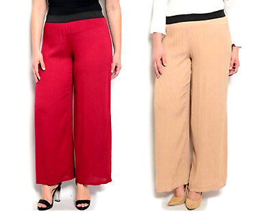 Angela Women's Sheer Wide-Leg Crinkle Pants Plus Size 1XL