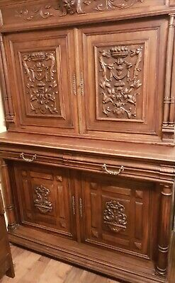 Antique Large French Dresser Buffet Solid Mahogany 19th Century