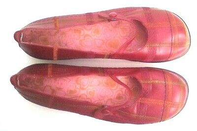 Hispanitas Mary Jane Shoes Red Chequered 100% Leather Rare 39 Used Once Only