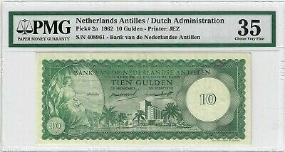 1962 10 Gulden Netherlands Antilles / Dutch Administration Pick 2a PMG 35