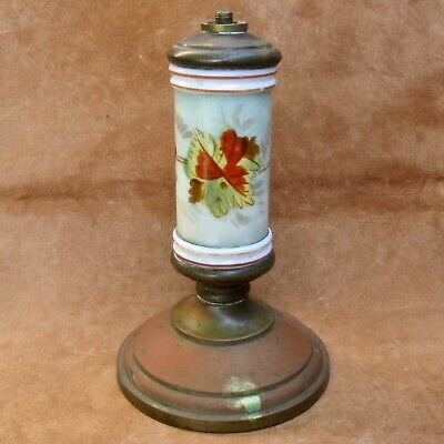 Ca 1880 Smith Bros Painted Glass Base Oil Lamp