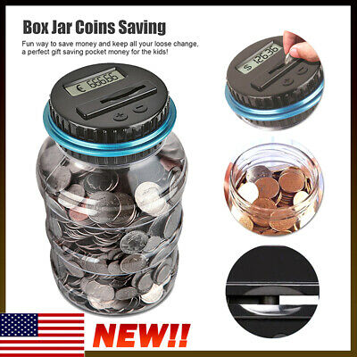 Digital Piggy Bank Coin Savings Box Counter LCD Counting Money Jar Change US NEW