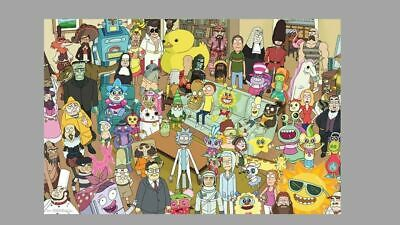 Rick And Morty Poster 22X34 Group Character Collage Tv Show Frankenstein Elvis +