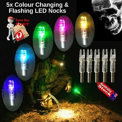 Archery Arrow Multi Colour Flashing Led Nocks Changeable Lithium Battery Hunting