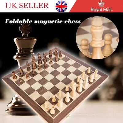 Large Chess Wooden Set Folding Chessboard Magnetic Pieces Wood Board Kids Toy