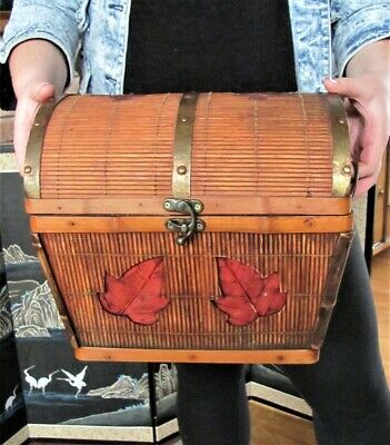Vintage Bamboo Asian Themed Woven Basket Wicker Rattan Brass Handles Hinged Lid