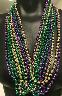 12 Strands. Mardi Gras Beads, Assorted Colors, Brand-New, Fat Tuesday, Carnival
