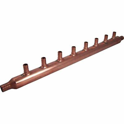 8-Port Open Copper PEX Manifolds 1 Inch Trunk 3/4 Inch 1/2 Inch Ports Connection