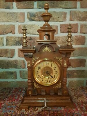 Antique Junghans Wooden Mantle clock with Brass Ornaments from 1900