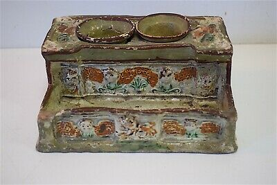 Antique Inkwell Faience XVIII 19th Origine to Identify Inkwell Earth 18th 19th