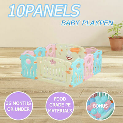 10 PCS Baby Playpen Safety Plastic Toddler Child Monitor Gate Fun Divider Gate
