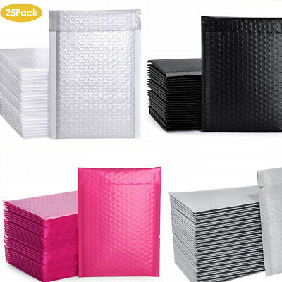 Multi Color 25 Pack Poly Bubble Mailers Padded Envelopes Plastic Protective Bags