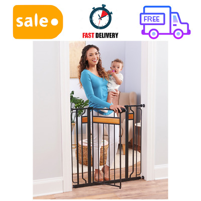 Home Accents Extra Tall Walk Thru Gate, Hardwood and Steel, Easy Close Handle