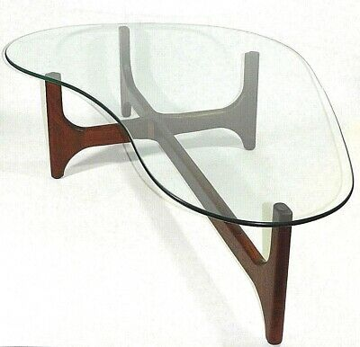Teak Coffee Table With Glass Adrian Pearsall Style MCM Mid Century Modern