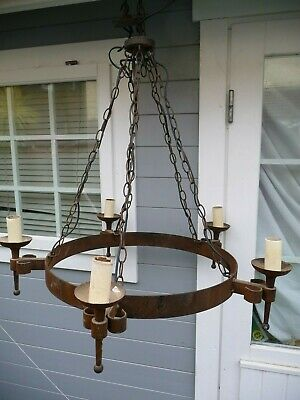 "Vintage Large Iron Gothic Style 5 Light Chandelier+Chains+ ""Smithbrook"" Project"
