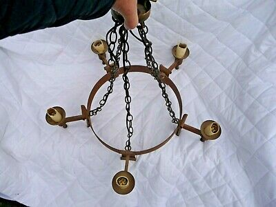 """Vintage Iron Gothic Style 5 Light Chandelier+Chains+ """"Smithbrook"""" Project Rustic"""