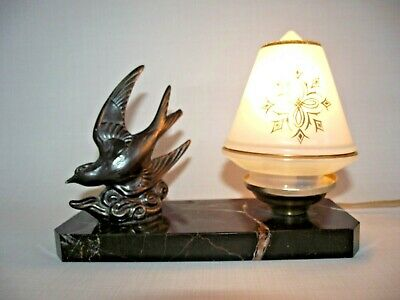 French  Art Deco Swallow Lamp Black Marble Base Patterned Cone Glass Shade 1074