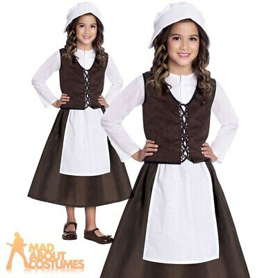 Kids Tudor Girls Costume Victorian Peasant Book Week Day Fancy Dress Outfit