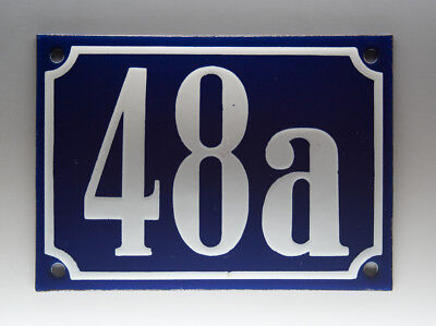 ALTE EMAIL EMAILLE HAUSNUMMER 48a in BLAU/WEISS um 1955