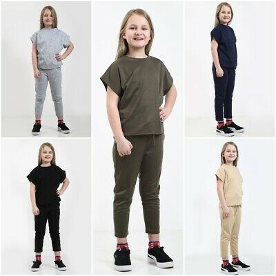 Kids Girls Short Sleeve Boxy Lounge Wear Tracksuit Set Casual Two Piece 7-13 Yrs