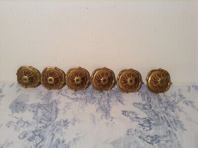 Set 6 Vintage French Ornate Gilt Bronze Ceiling Chandelier Bobeches, Cups
