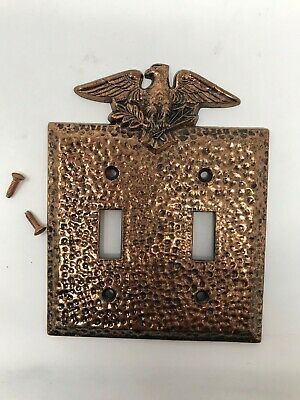 Vintage EDMAR 90 Hammered Copper Finish Eagle Double Light Switch Plate