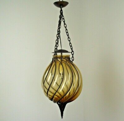 Unusual Mid Century Amber Colour Murano Blown Glass Caged Pendant Lantern 1570