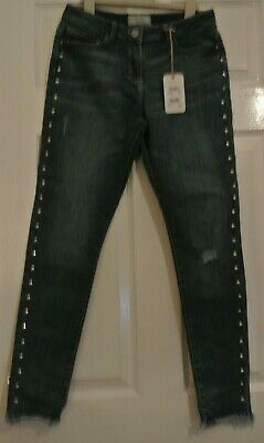 New Next  girls studded Jeans Distressed look Blue age 10 years Skinny fit
