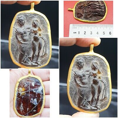 Excellent Ancient Roman Glass Alexzandar And Queen Roxana Pendant 300 BC #A171