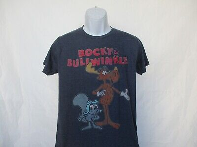 Rocky & Bullwinkle Retro Cartoon T-Shirt Adult Navy Sizes S - 3XL - NEW
