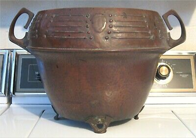 ARTS & CRAFTS Antique COPPER PLATED JARDINIERE w/HAMMER & TOOLED PATTERNS Pot