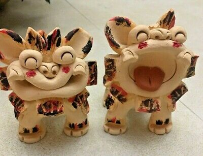 """Pair of Vintage  CLAY Chinese Foo Dog Lion Figures -  STAMPED ON LEG 4.5"""""""