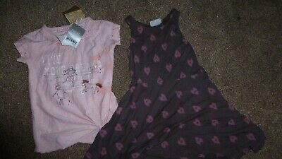 NEXT GIRLS 4 YEARS 2pc Top with Pink Brown Heart Slater dress with FOC H&M TIGHT
