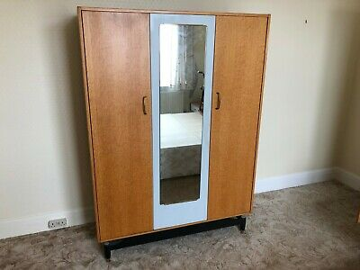G Plan E Gomme Mid Century Chinese White Triple Wardrobe 4ft Wide